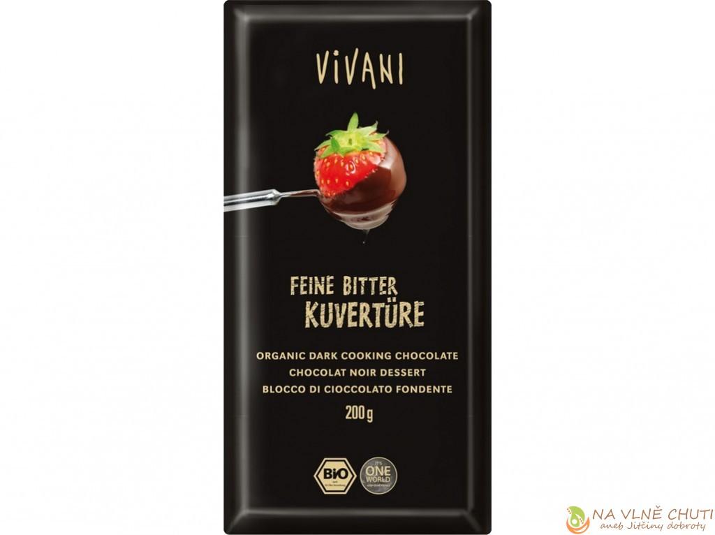 kakaová hmota, přírodní třtinový cukr, kakaové máslo. Obsahuje minimálně 70 % kakaa. Bio.